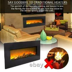 1400W 42 Electric Fireplace Wall Mounted Heater Remote Control 3 Flame Level
