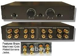 2 Amp Speaker Pair Selector Switch Switcher Splitter with Volume Level Control