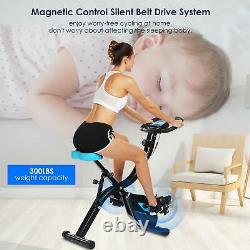 2-in-1 APP Control Folding Exercise Bike Indoor Stationary 10-level Resistance