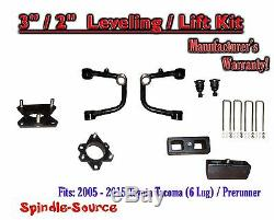 3 / 2 Lift Kit + TUBULAR Upper Arms UCA, fits 2005 2018 Toyota Tacoma