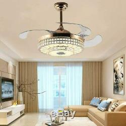 42 inch Bluetooth Crystal Ceiling Fan Light and Remote Control 3 Lights Level