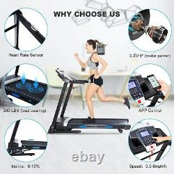 ANCHEER Electric Treadmill Folding Running Machine 3-Level Incline & APP Control