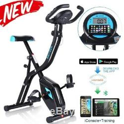 APP Control Folding Exercise Stationary Bike with 10-Level Magnetic Resistance