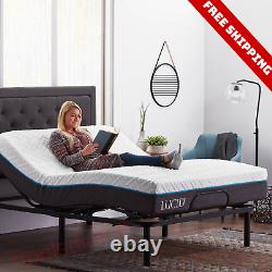 Adjustable Queen Size Electric Bed Steel Frame Foundation Base Remote Control