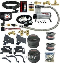 Air Bag Tow Kit & Control In Cab White Gauge 2001-10 Chevy 8 Lug Truck Lifted 4