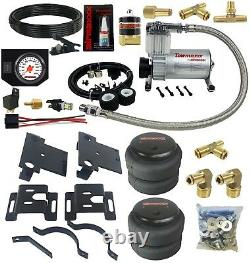 Air Helper Spring Load Level Kit withWhite Gauge Fits 2001-2010 Chevy 3500 Truck