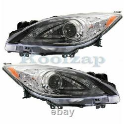 For 10-13 Mazda 3 Front Headlight Headlamp HID/Xenon Head Light Lamp Set Pair