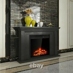 Free Standing Electric Fireplace Heater With Remote Control And 7 Level Flame
