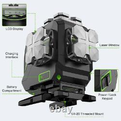 Huepar 12 Lines 3D Cross Line LCD Display Bluetooth &Remote Control Laser Level