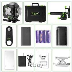 Huepar 12 Lines 3D Cross Line Laser Level LCD Display Bluetooth & Remote Control